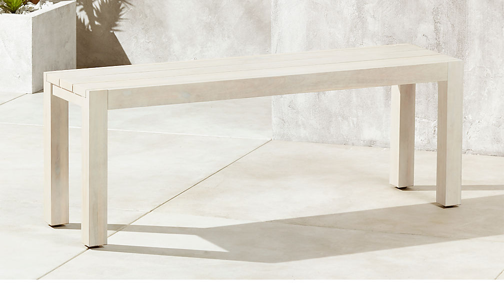 - Matera White Outdoor Dining Bench + Reviews CB2