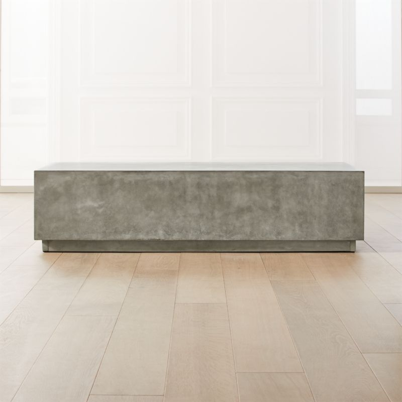Matter Grey Cement Rectangle Coffee Table Cb2