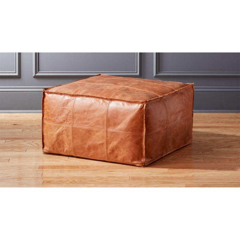 Fantastic Medium Square Leather Ottoman Pouf Dailytribune Chair Design For Home Dailytribuneorg