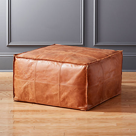 Medium Square Leather Ottoman Pouf Reviews Cb2 Canada