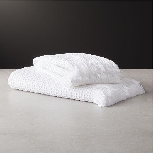 Meilan White Cotton/Bamboo Waffle Bath Towels