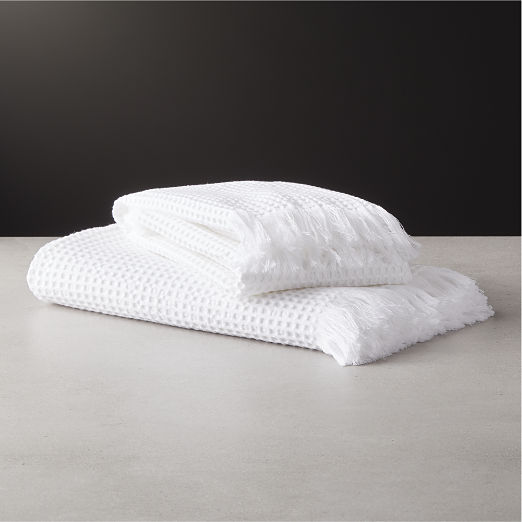 Meilan White Cotton/Bamboo Waffle Bath Towels