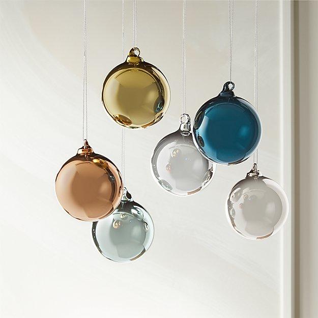 Metallic Pastel Ornaments Set of 6 - Image 1 of 2