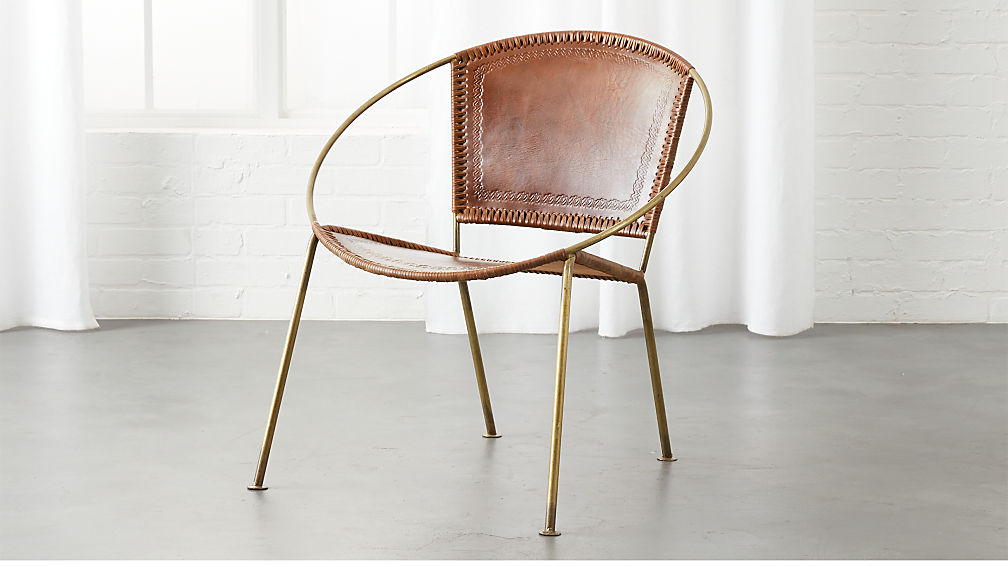 micaela brown leather hoop chair reviews cb2