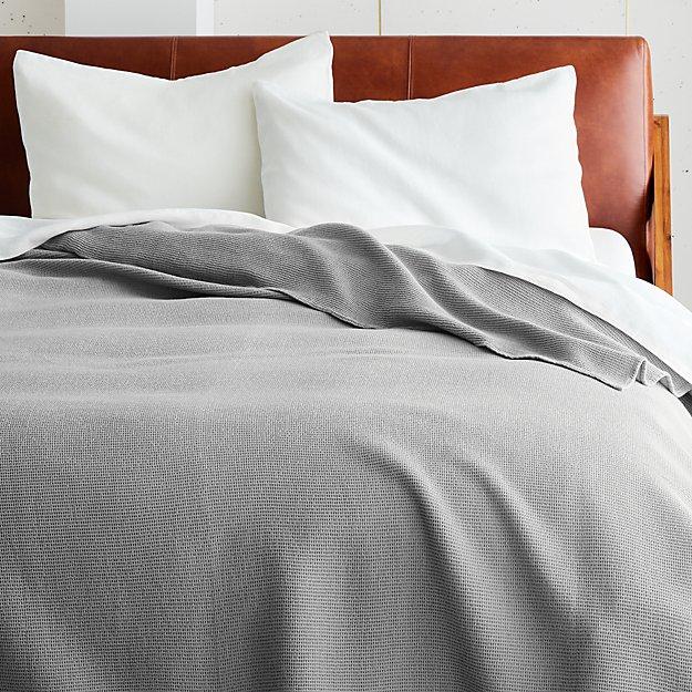 Micro Waffle Grey Blanket - Image 1 of 2