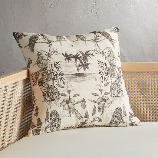 "23"" Midnight Jungle Tropical Pillow"