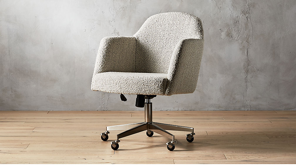 Miles Grey Boucle Office Chair + Reviews | CB2 on office table and chairs, office desk chairs, office chairs for bad backs, office accessories, office chairs product, office conference,