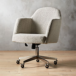 Charmant Miles Grey Boucle Office Chair