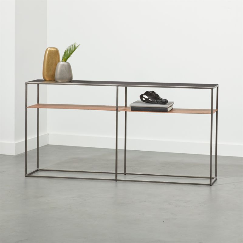 Mill Leather Console Table Reviews Cb2