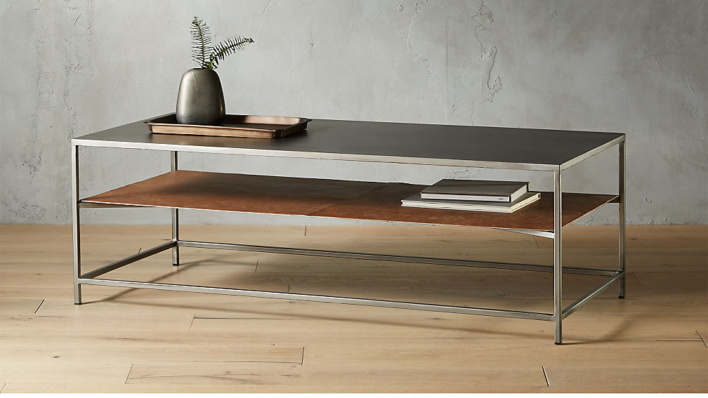 Mill Large Leather Coffee Table Reviews CB - Cb2 mill coffee table