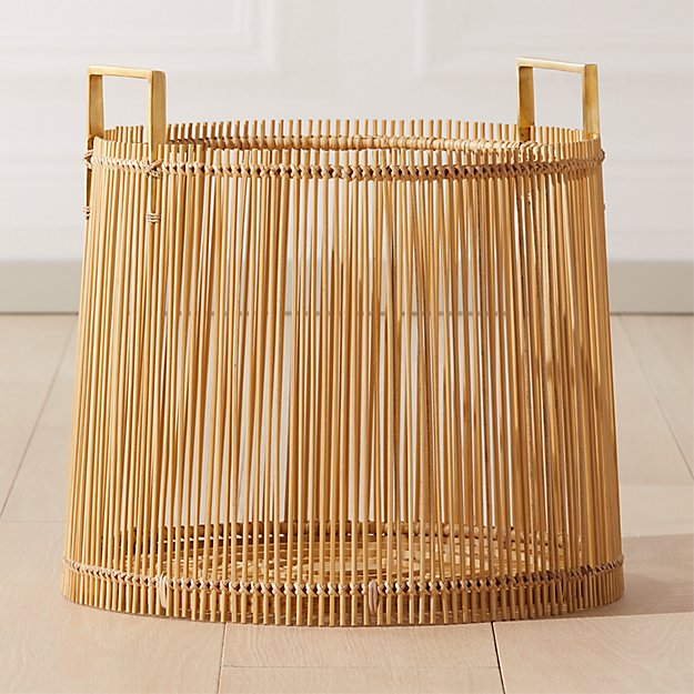 Cb2 Free Shipping >> Mina Brass And Bamboo Basket Reviews Cb2