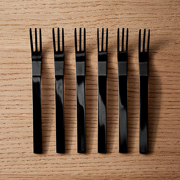 Set of 6 Mini Black Cocktail Forks - Image 1 of 6