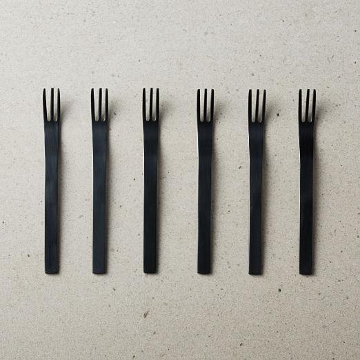 Set of 6 Mini Black Cocktail Forks