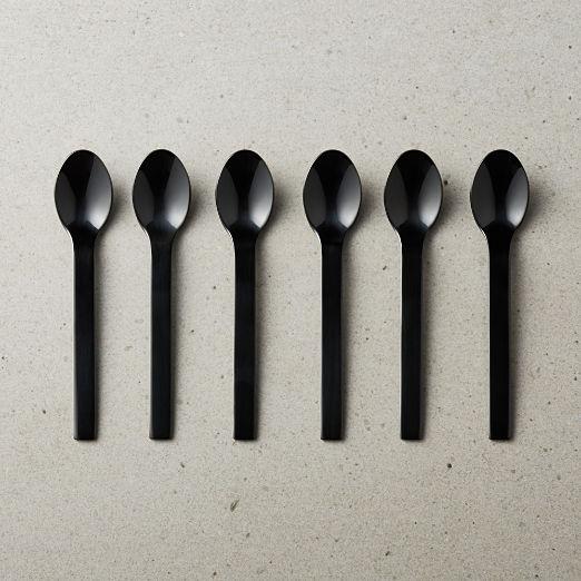 Set of 6 Mini Black Cocktail Spoons