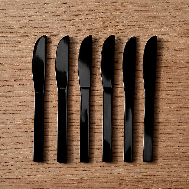 Set of 6 Mini Black Cocktail Spreaders - Image 1 of 6