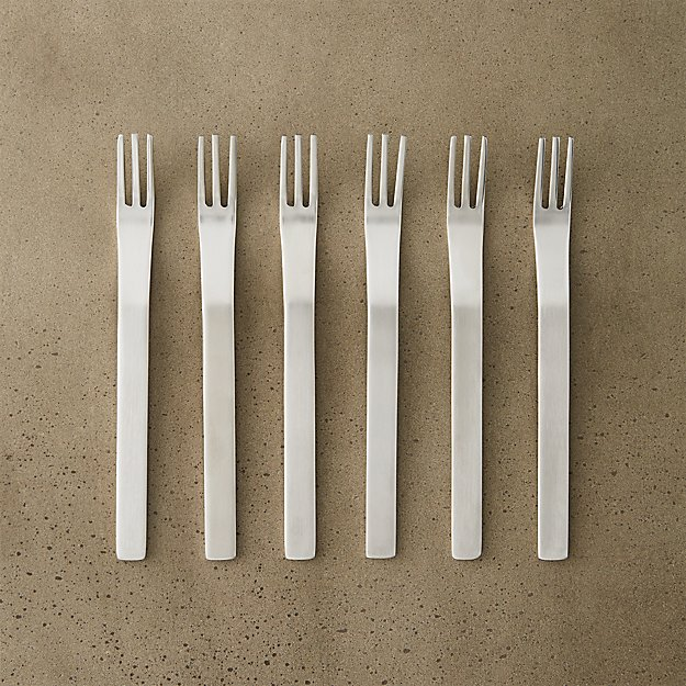 Set of 6 Mini Stainless Steel Cocktail Forks - Image 1 of 5