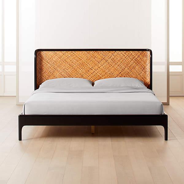 Miri Black And Rattan Bed Cb2