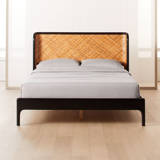 Miri Black and Rattan Bed