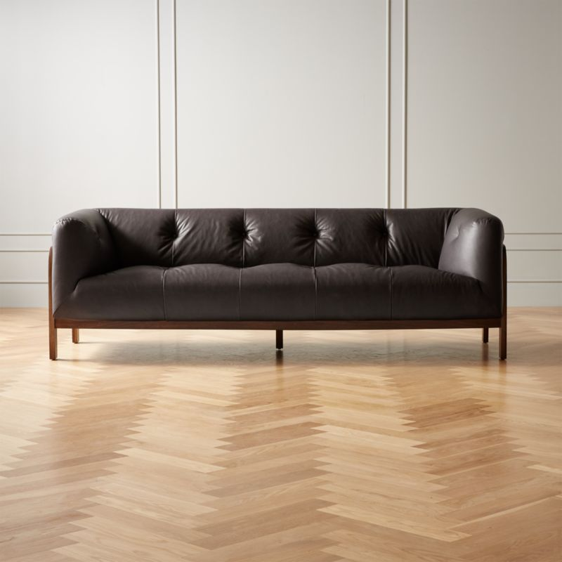 Moet Charcoal Leather Tufted Sofa Cb2