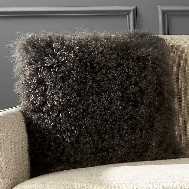 "16"" Mongolian Carbon Sheepskin Pillow - Image 1 of 10"