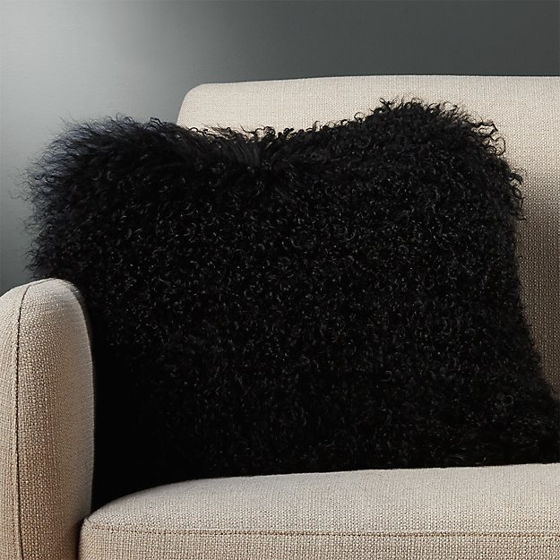 16 Quot Mongolian Sheepskin Black Pillow With Down Alternative