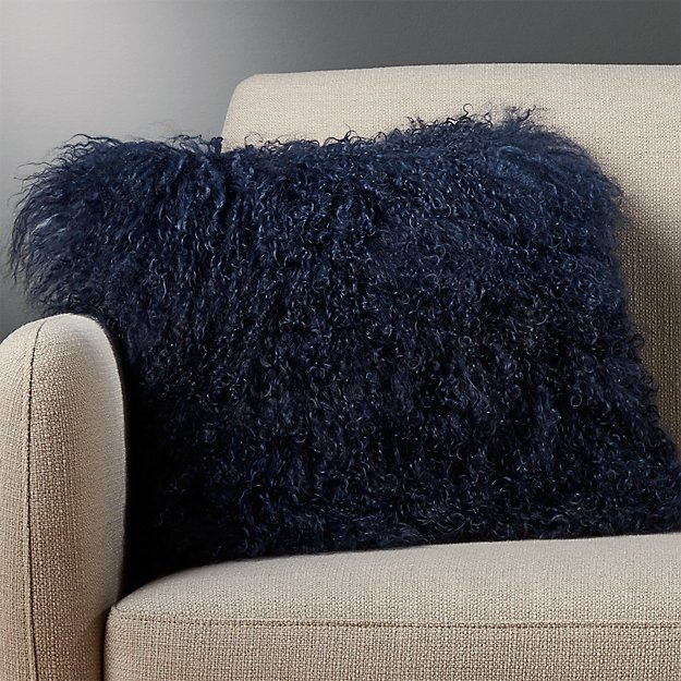 "16"" Mongolian Sheepskin Navy Pillow - Image 1 of 9"