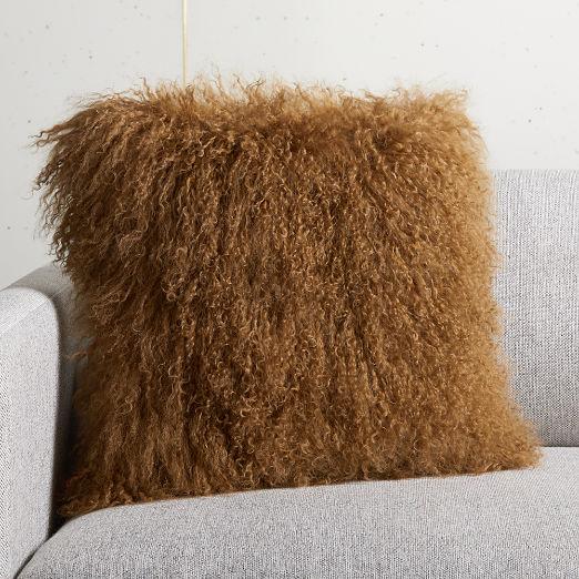 "16"" Brown Mongolian Pillow"