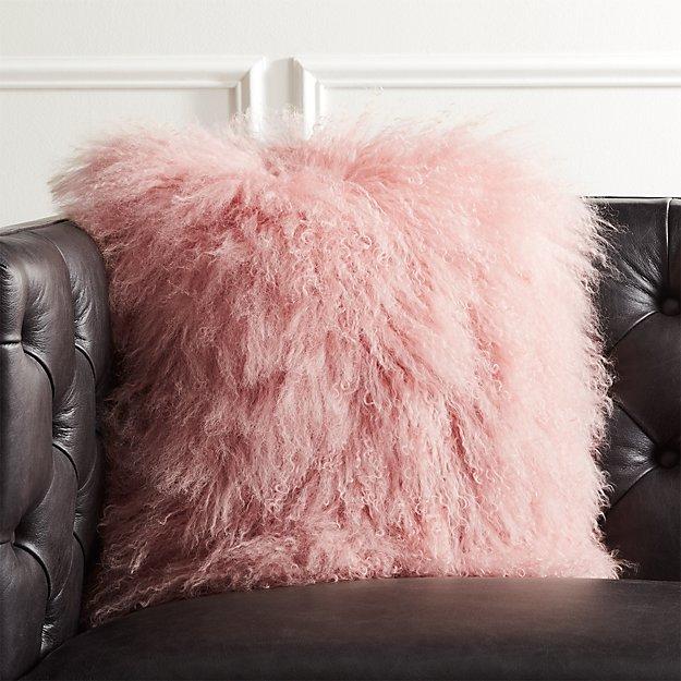 "16"" Mongolian Sheepskin Pink Fur Pillow - Image 1 of 10"