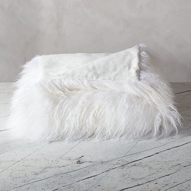 Mongolian Sheepskin White Throw Reviews Cb2