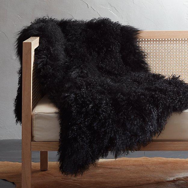Black Mongolian Sheepskin Throw - Image 1 of 5