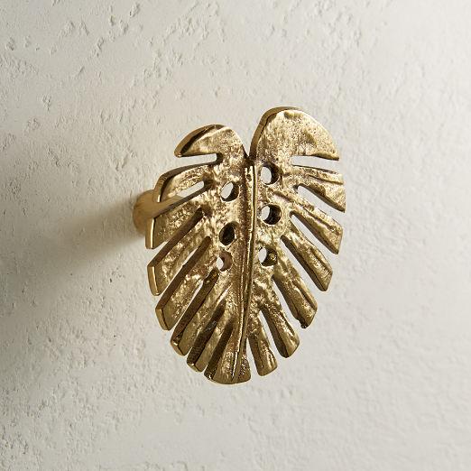 Monstera Knob Polished Brass