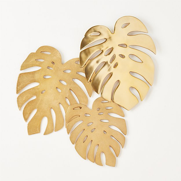 Monroe Monstera Leaves Wall Decor + Reviews | CB2