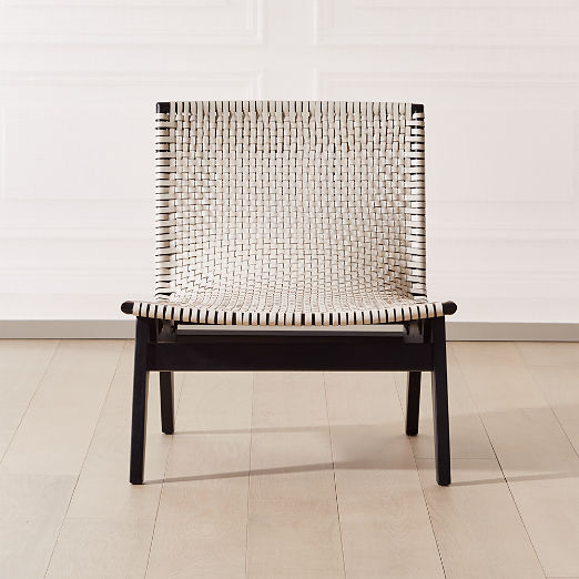 Morada Woven Ivory Leather Chair