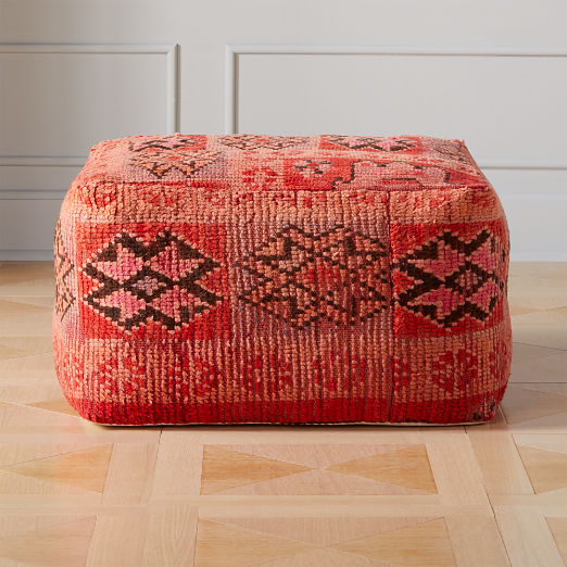 Moroccan Pink/Red Vintage Pouf/Floor Cushion