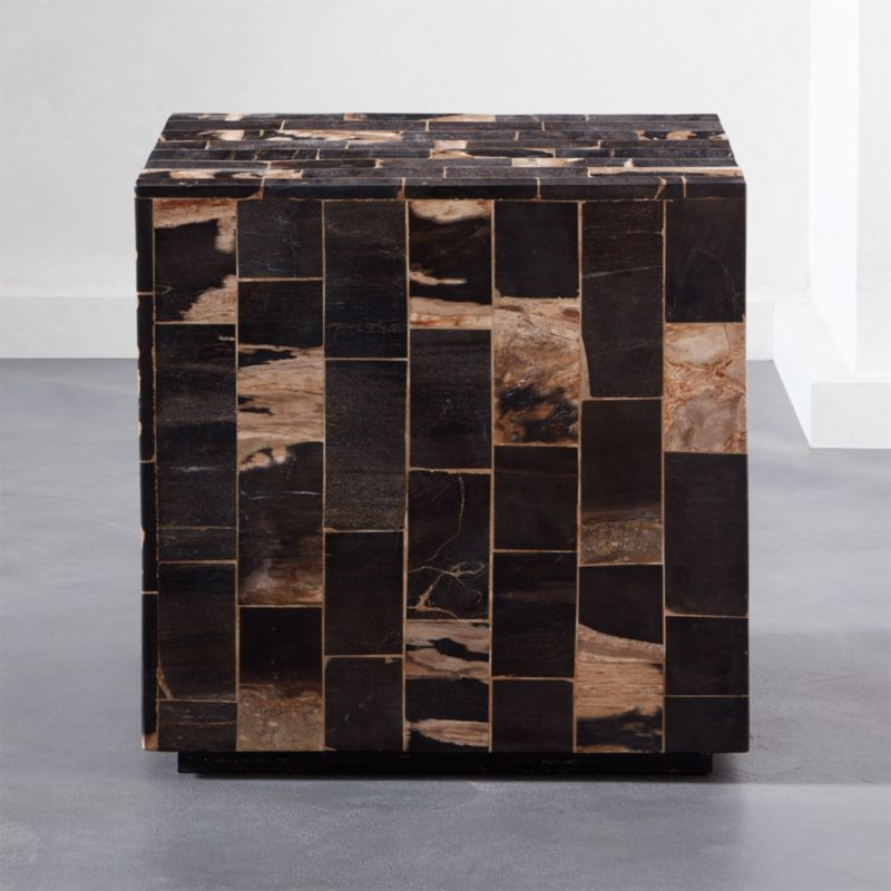Modern night stand Danish Modern Mosaic Pieced Petrified Wood Side Table Cb2 Black Modern Nightstand Cb2