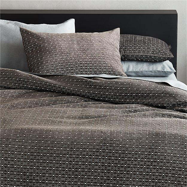 Moura Chenille Grey Full/Queen Duvet Cover - Image 1 of 3