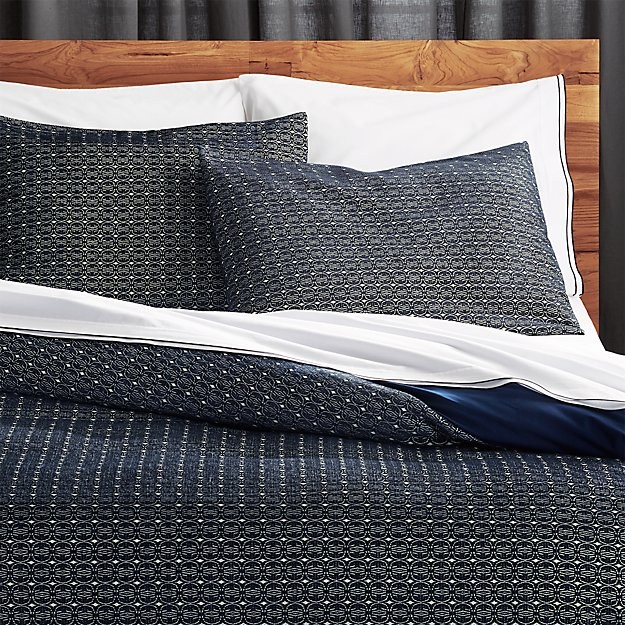 moura chenille navy bedding cb2 - Navy Bedding