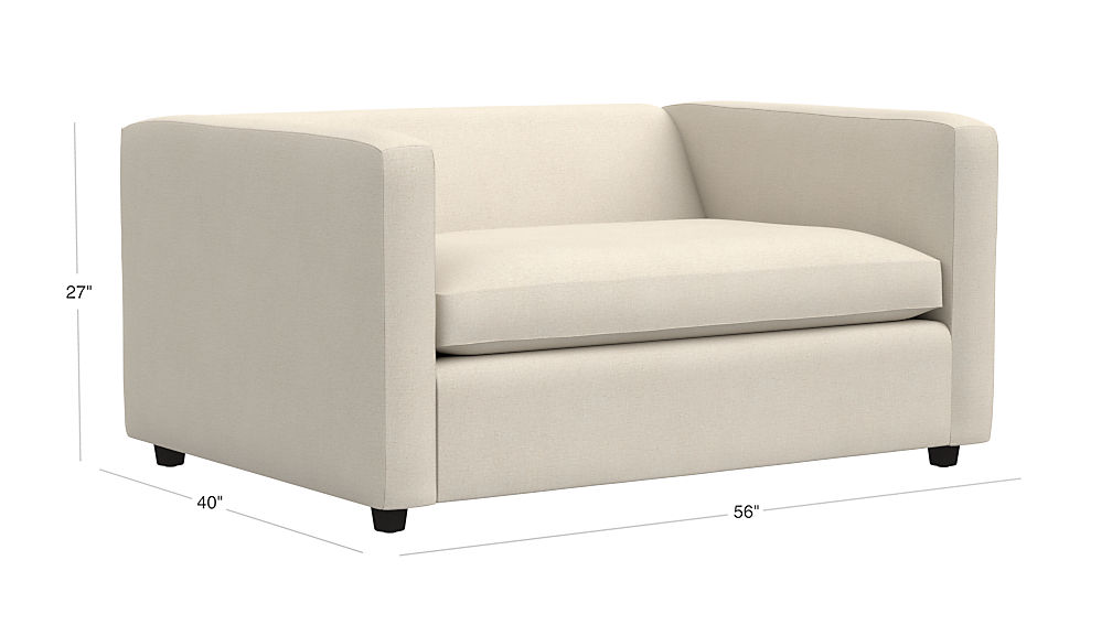 Tap To Zoom Image With Dimension For Movie Birch Ivory Twin Sleeper Sofa