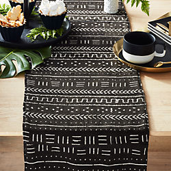 Black Mudcloth Table Runner