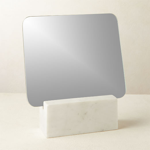 Muse White Marble Vanity Mirror