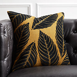 18 Frond Mustard Jute And Velvet Pillow With Down Alternative Insert