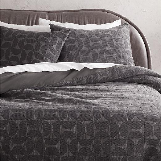 Myra Dark Grey Organic Cotton Duvet Cover