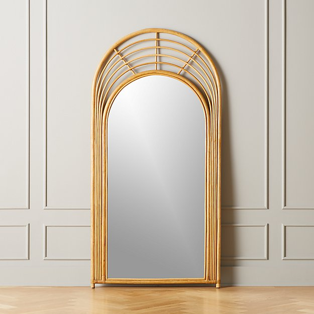 Natural Rattan Floor Mirror - Image 1 of 5