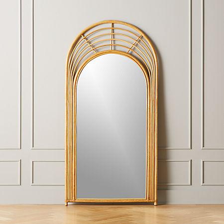 Natural Rattan Floor Mirror Reviews Cb2