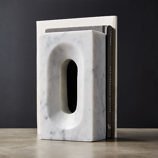 Naught White Marble Bookend