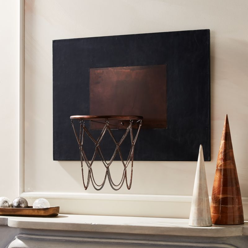 Leather And Copper Decorative Basketball Hoop Reviews Cb2