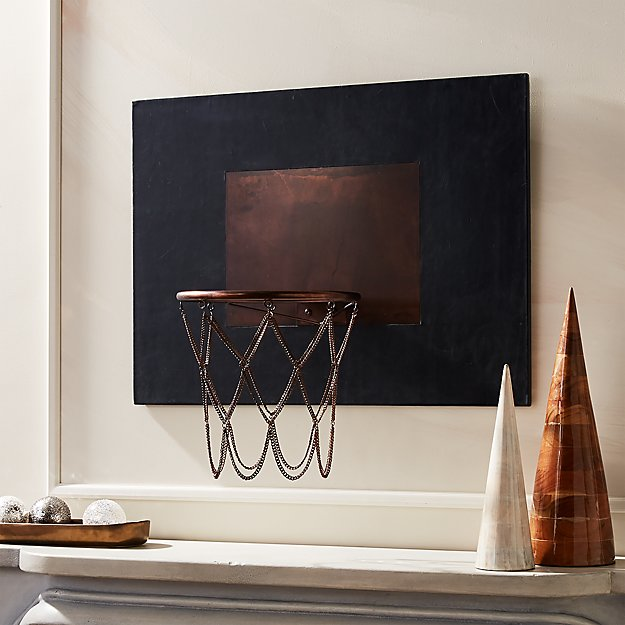 Navy Leather and Copper Basketball Hoop - Image 1 of 9