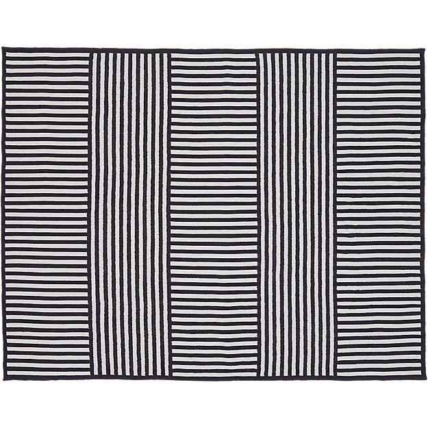 Navy Stripe Outdoor Rug 8x10 Reviews Cb2