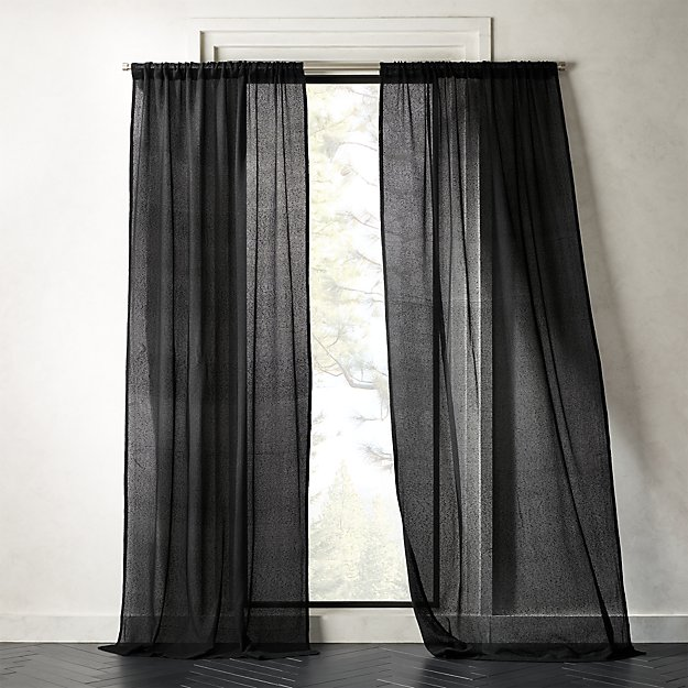 Net Black Curtain Panel - Image 1 of 2