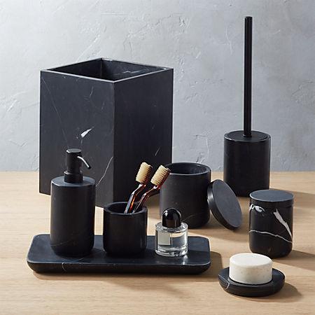 Nexus Black Marble Bath Accessories Cb2 Canada